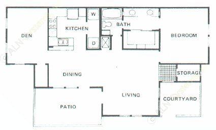 1,073 sq. ft. B4 floor plan