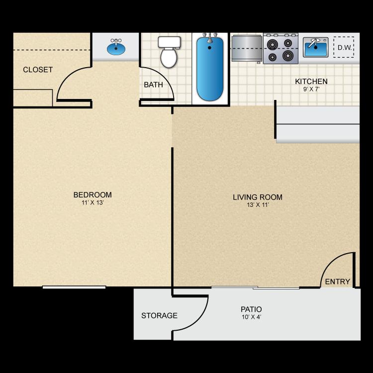 475 sq. ft. A1 floor plan