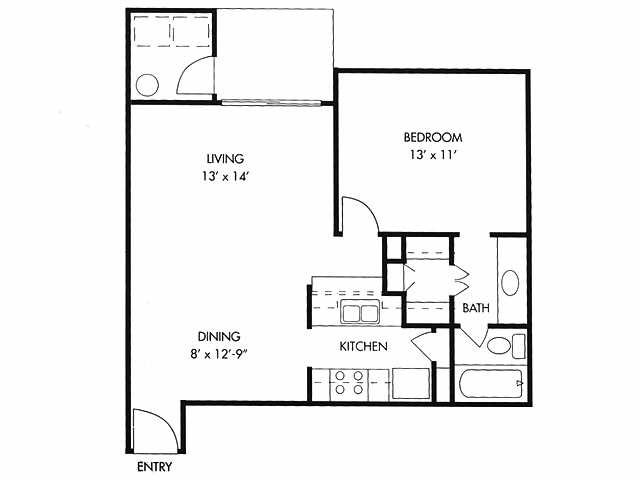 611 sq. ft. floor plan
