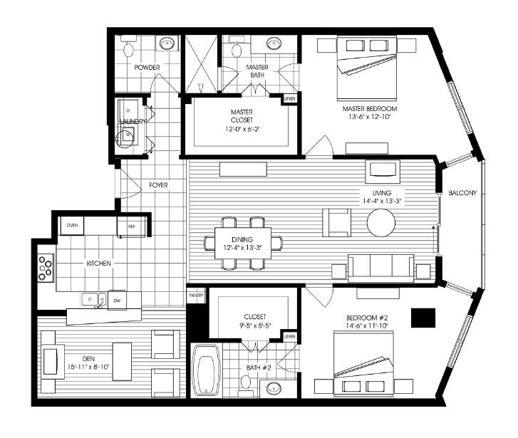 1,618 sq. ft. A15 floor plan