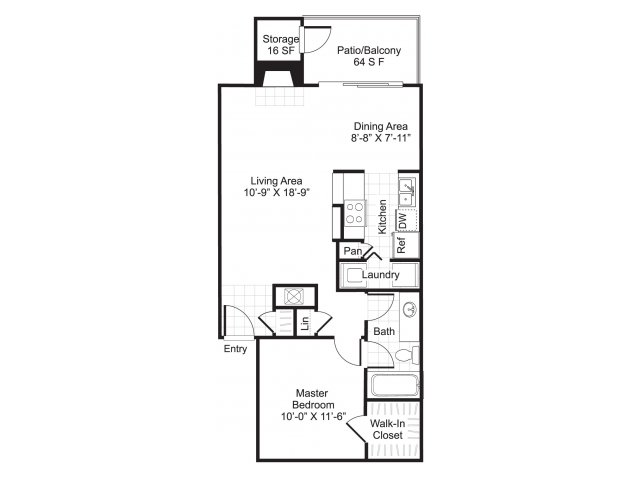 756 sq. ft. A2/Koi floor plan