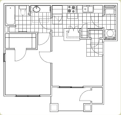 550 sq. ft. Colt floor plan