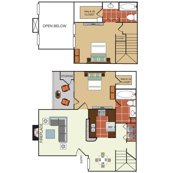 1,120 sq. ft. 2K floor plan