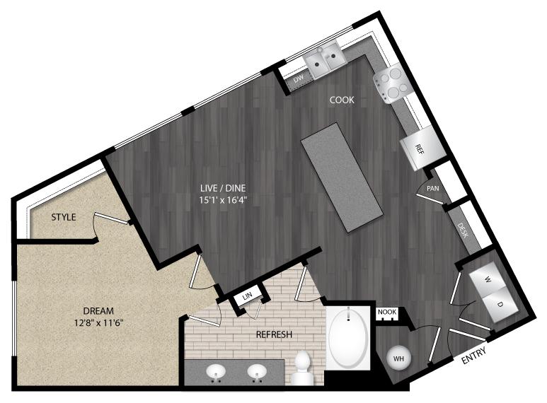 837 sq. ft. A3 floor plan