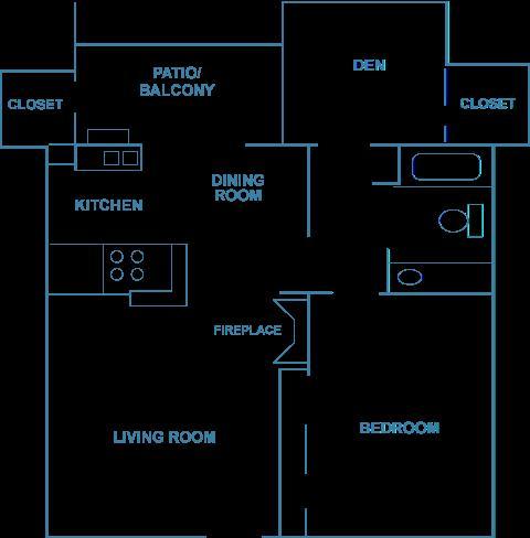 850 sq. ft. A1D floor plan