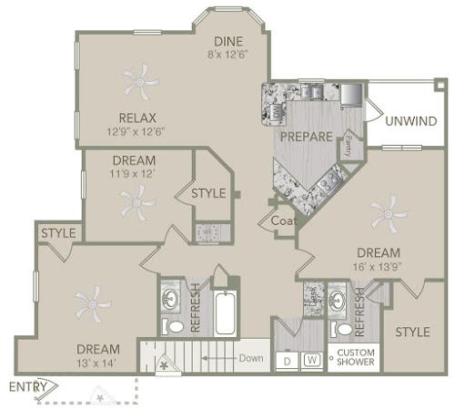1,585 sq. ft. C1U floor plan