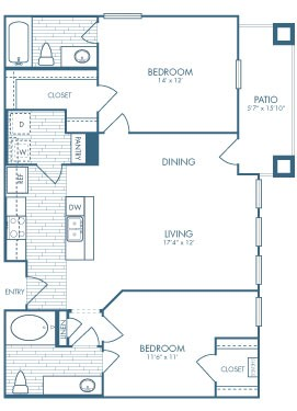 1,045 sq. ft. B2 floor plan