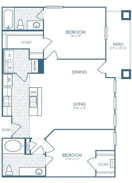 1,045 sq. ft. Tombstone floor plan
