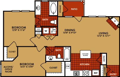 1,104 sq. ft. Montrose (B2) floor plan
