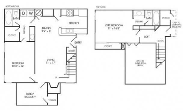 1,029 sq. ft. B3 floor plan