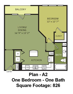826 sq. ft. A2 (II) floor plan