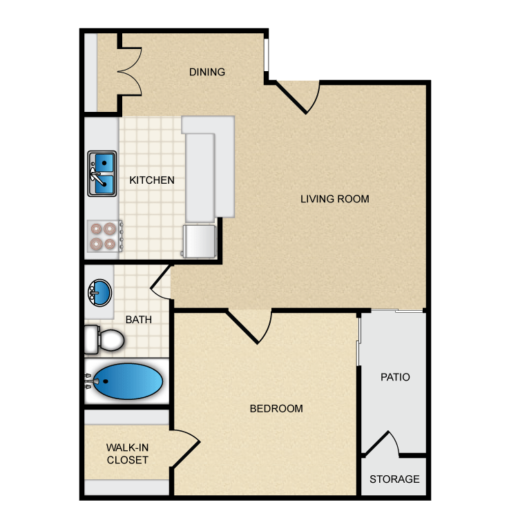 550 sq. ft. Ph1 A1 floor plan