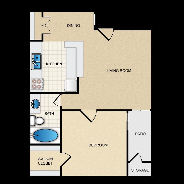 550 sq. ft. Ph1 A1 floor plan