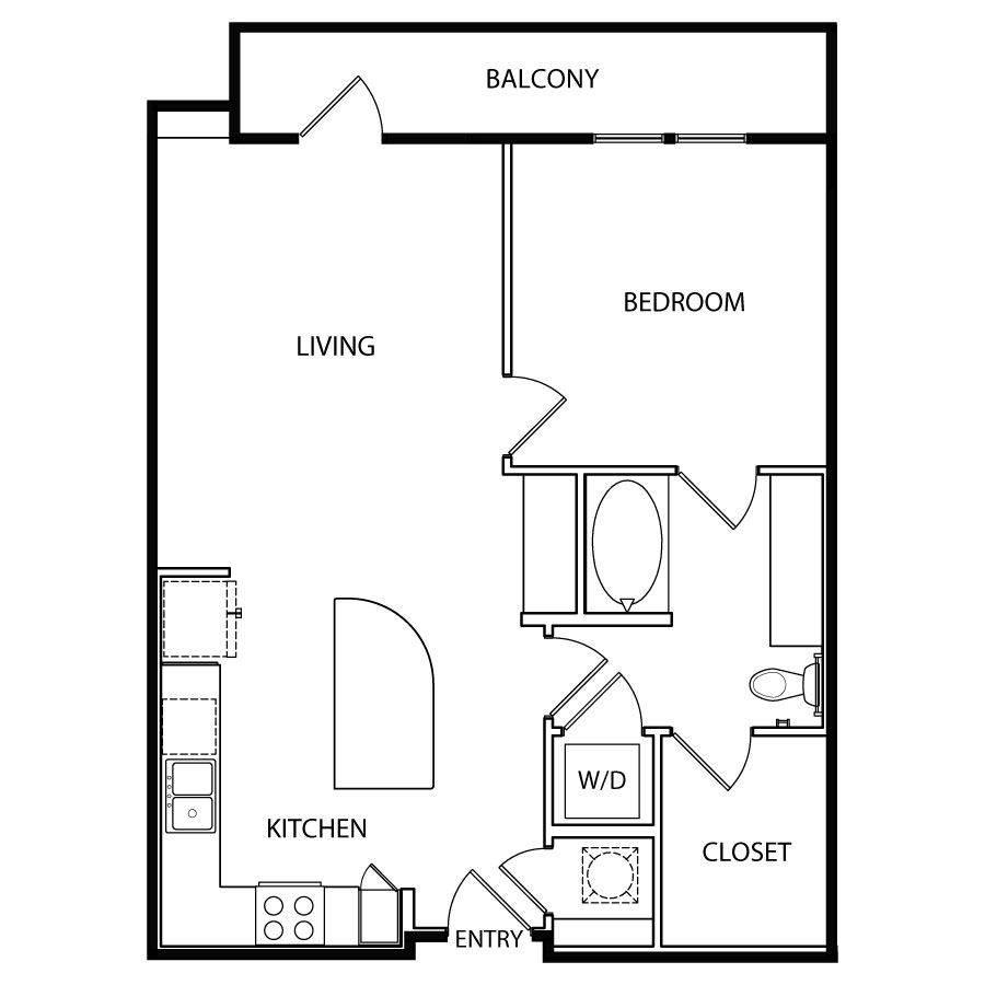 756 sq. ft. A5 floor plan