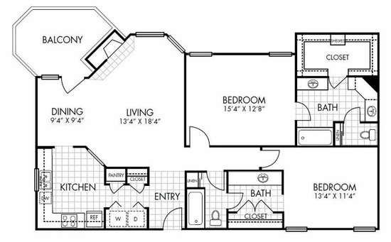1,290 sq. ft. B2 floor plan