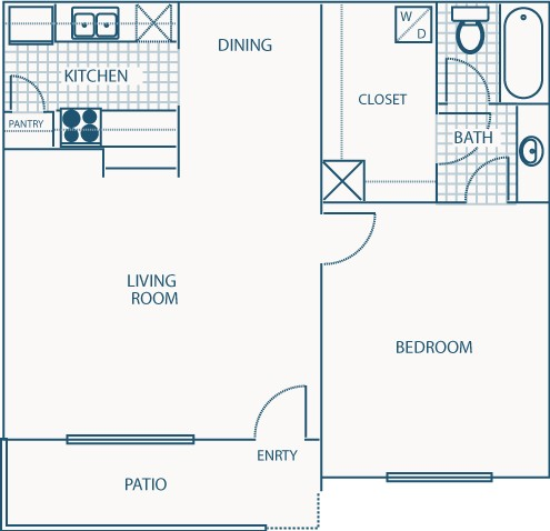 652 sq. ft. B floor plan