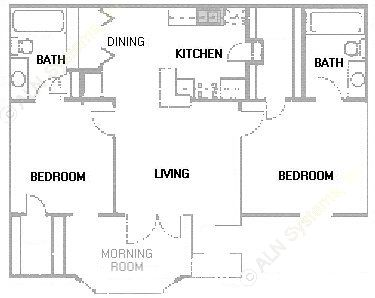 924 sq. ft. B4 floor plan