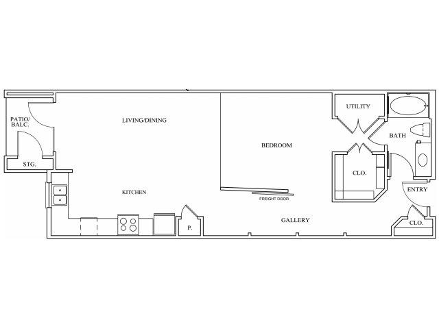 836 sq. ft. L2 floor plan