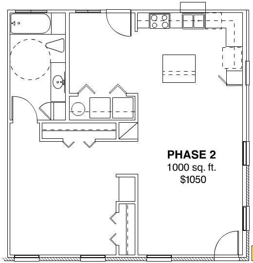 1,000 sq. ft. PHASE II floor plan