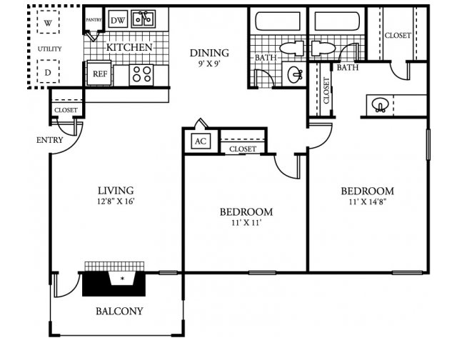 954 sq. ft. B2.2 floor plan