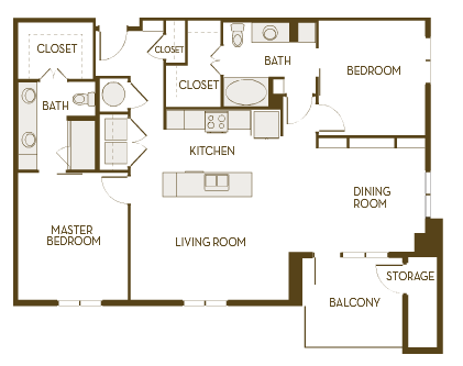 1,305 sq. ft. to 1,349 sq. ft. B2I floor plan