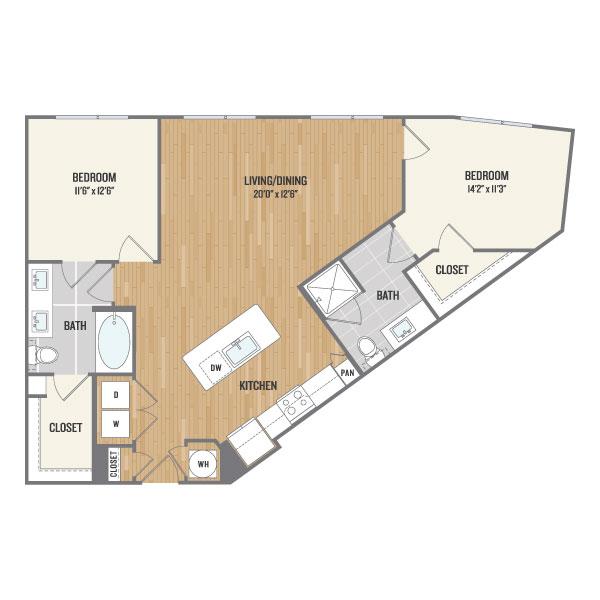 1,097 sq. ft. C1 floor plan