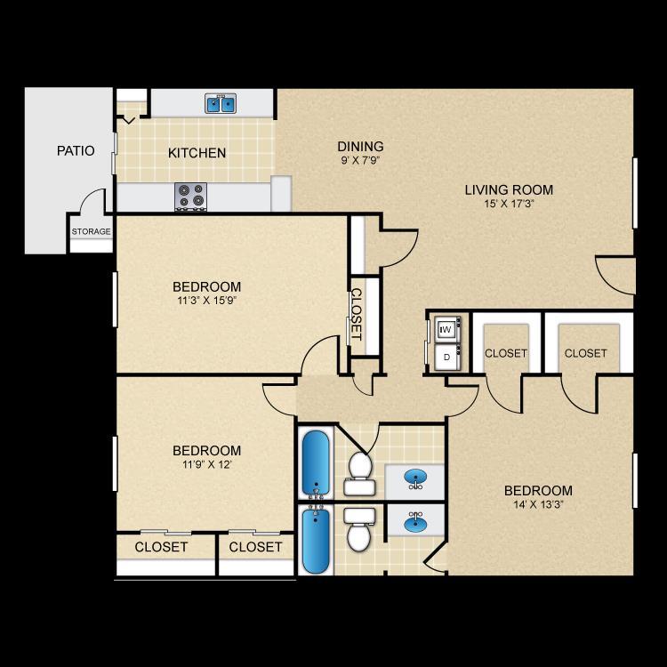1,296 sq. ft. floor plan