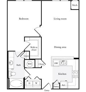 822 sq. ft. A1 floor plan