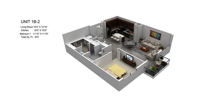 875 sq. ft. Laurel/1B-2 floor plan