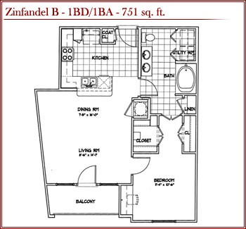751 sq. ft. ZINFANDEL B floor plan
