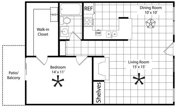 757 sq. ft. A1 floor plan