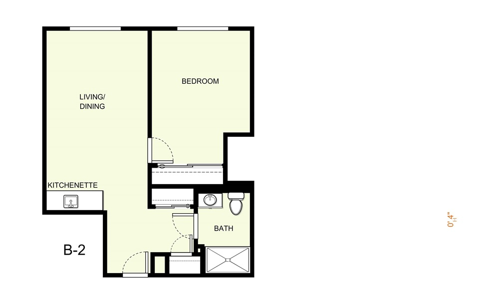 617 sq. ft. B2 floor plan