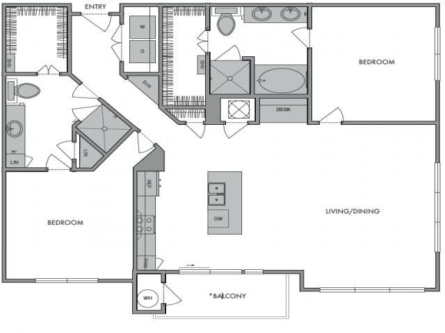 1,299 sq. ft. G floor plan