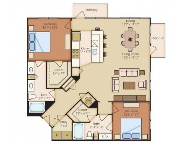 1,458 sq. ft. B4A floor plan