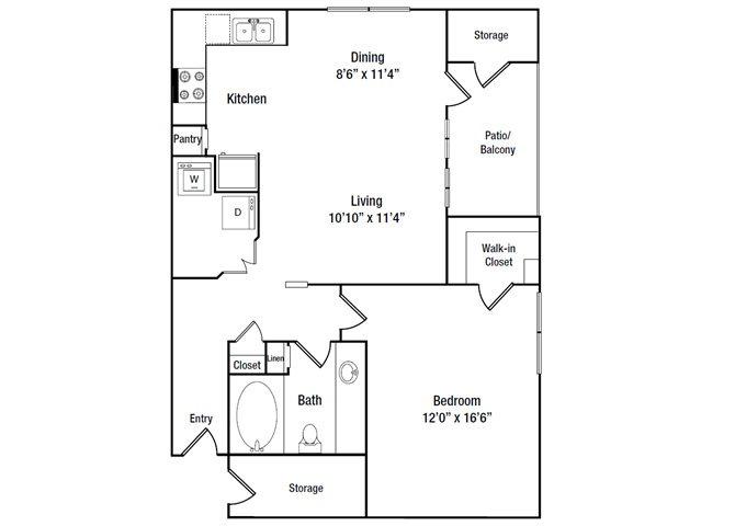807 sq. ft. A4 floor plan