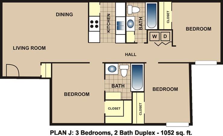1,052 sq. ft. J floor plan