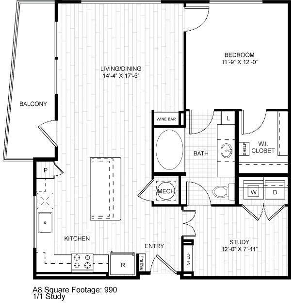 980 sq. ft. A1.3 floor plan