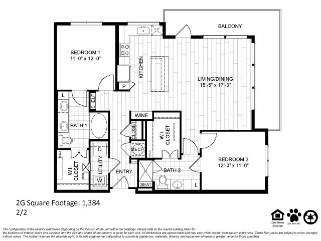 1,384 sq. ft. 2G floor plan