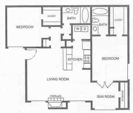 1,018 sq. ft. B2 floor plan