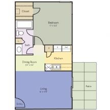 660 sq. ft. Tulip floor plan