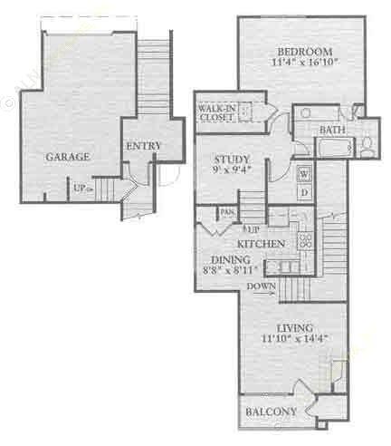 967 sq. ft. A3 floor plan
