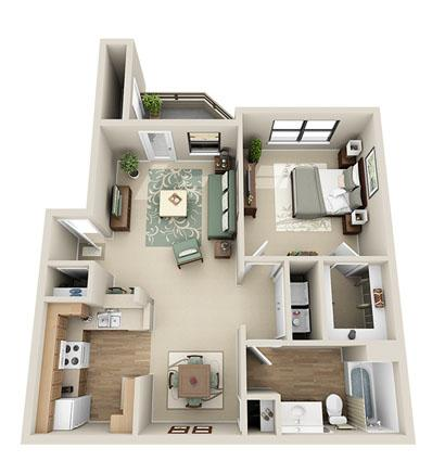 755 sq. ft. Pine floor plan