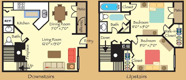 910 sq. ft. B1 floor plan