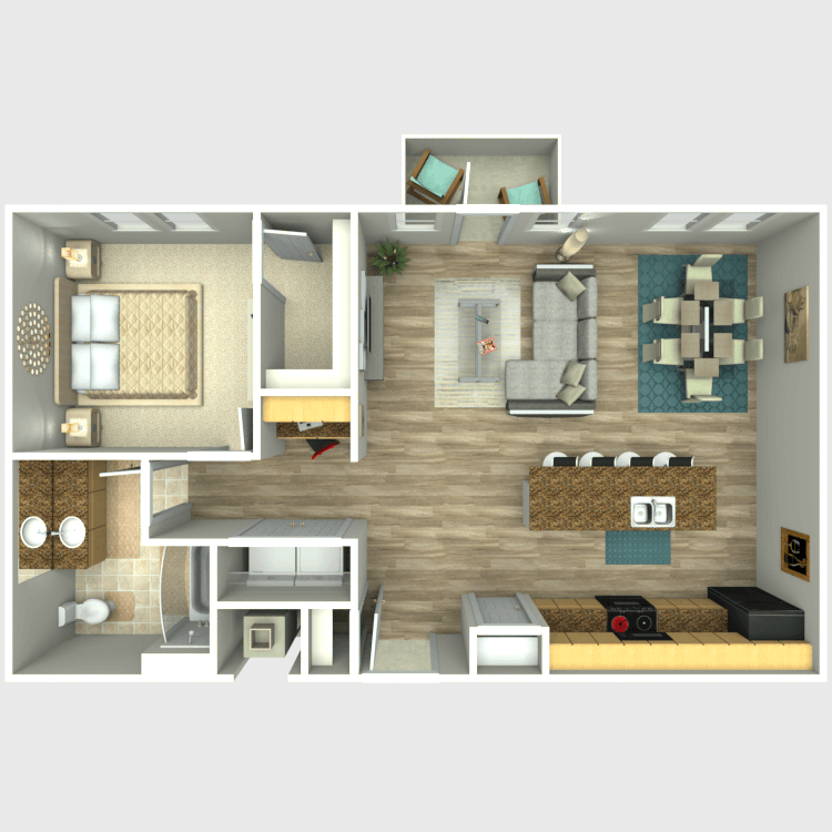 836 sq. ft. A6 floor plan