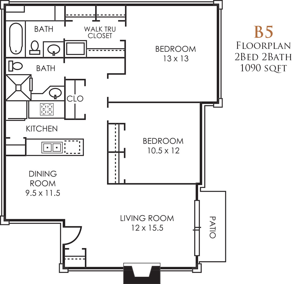 1,090 sq. ft. B5 floor plan