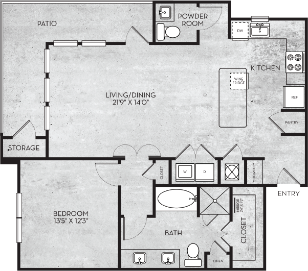 987 sq. ft. Salt Lake floor plan