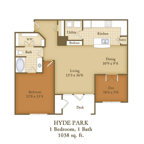 1,038 sq. ft. A3 floor plan