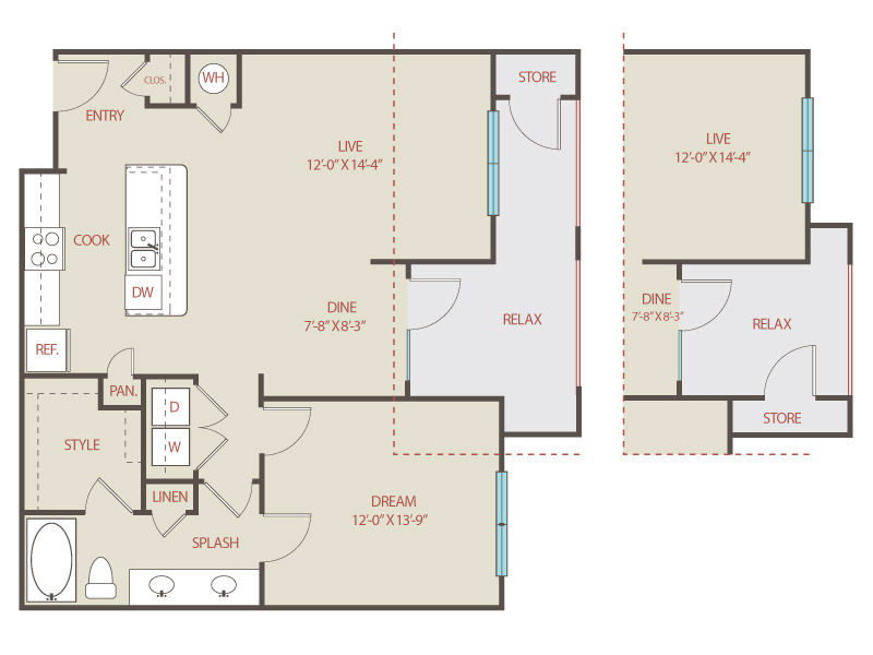 878 sq. ft. to 942 sq. ft. A4 St. Anthony floor plan