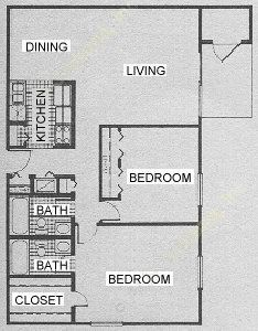 1,008 sq. ft. B7 floor plan