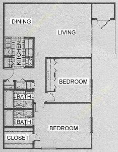 1,008 sq. ft. B7 floor plan